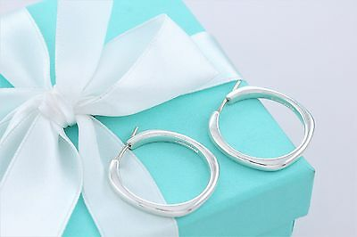 """Tiffany & Co. Sterling Silver Square Cushion 1"""" Hoop Earrings w/ Box & Pouch"""