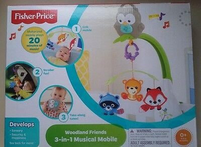 Fisher Price Woodland Friends 3-in-1 Musical Crib Mobile