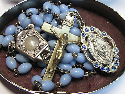 """† Blessed Vintage Fatima Relic Soil Blue Lucite Rosary & Oval Immaculate""""case †"""