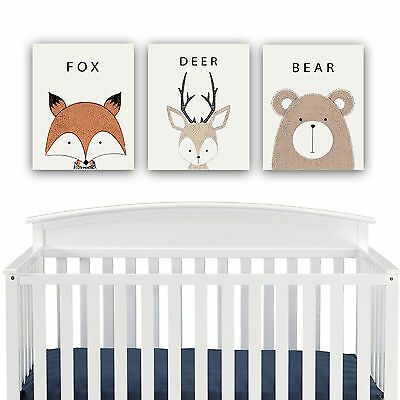 Woodland Creatures Nursery Decor CANVAS Wall Art – Fox, Deer, Bear