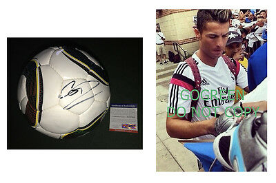 Cristiano Ronaldo signed soccer ball Real Madrid World Cup PSA DNA photo proof