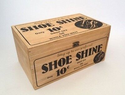 Vintage Wooden Storage Box Shoe Shine Cleaning Chest