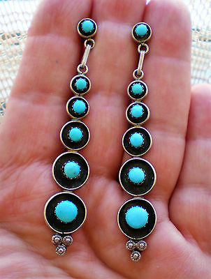 Old Pawn ZUNI Native American Sterling Silver 925 Turquoise Long Earrings 7 g.