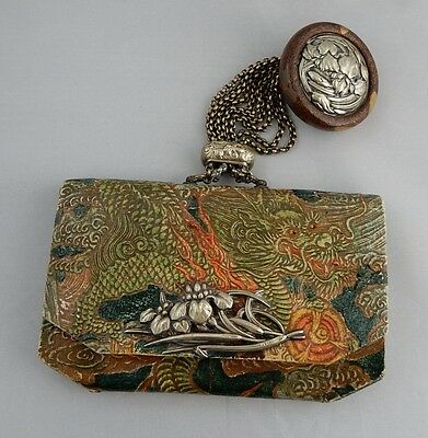 JAPANESE Embossed Dragon Leather Sagemono Tobacco Pouch or Wallet w/Iris Netsuke
