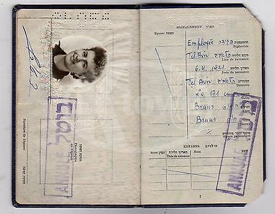 Early Israeli Cancelled Passport Travel Document With Travel Stamps 1953 To 1957
