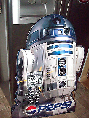 RARE 1990's Vintage R2D2 PEPSI STANDUP Cut-Out Advertising Star Wars POSTER