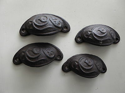 Distressed Cast Iron Brown  Metal Cup Handle Drawer Pull Knob Hardware