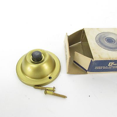 "Edwards no 603 brass door bell button 1 7/8"" stamped surface push NOS"