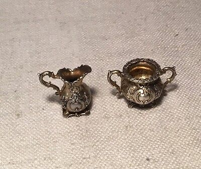 Antique Pair Sterling Silver Ornate Sugar & Creamer Miniatures Signed T. Vedve