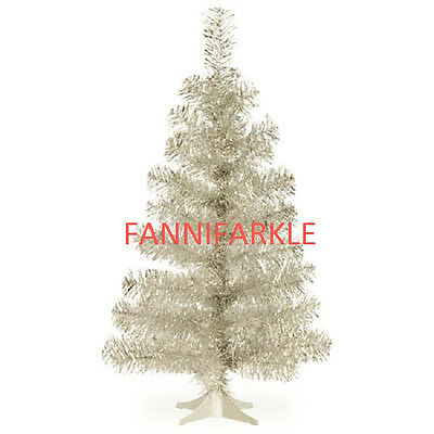 """3 FT SILVER TABLE TOP CHRISTMAS TREE w/ STAND ~ 36"""" TALL - 70 TIPS ~ NEW"""