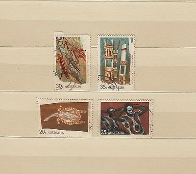 Aboriginal Art Series 1971, complete set of 4 used stamps