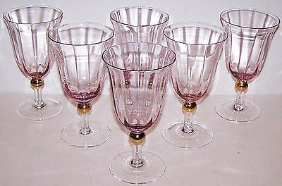 "Royal Albert Set Of 6 Old Country Roses Formal 6 1/2"" Pink & Gold Juice Glasses"