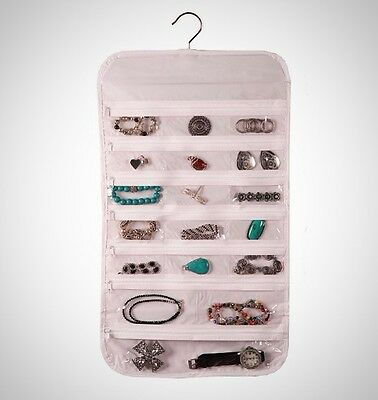 HANGING JEWELRY Organizer 44 Zipper Pockets Hanger Door Hanging