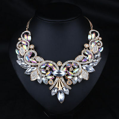 Fashion Jewelry Pendant Chain Crystal Chunky Statement Necklace Women UK STOCK