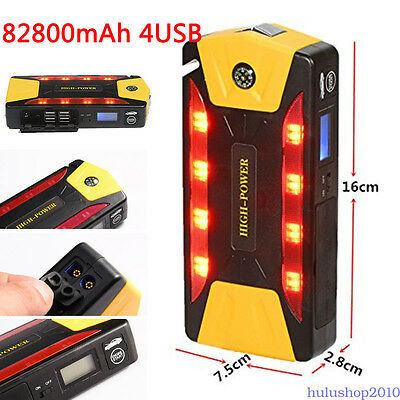 82800mAh 4USB Portable Car Jump Starter Booster Charger Battery Emergency 12V