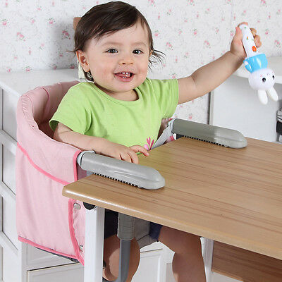 Hook On Baby Booster Seat High Chair Portable Foldable Safe Harness