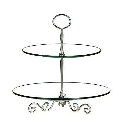 Cake Stand,2 Tier,Clear Glass/Chrome