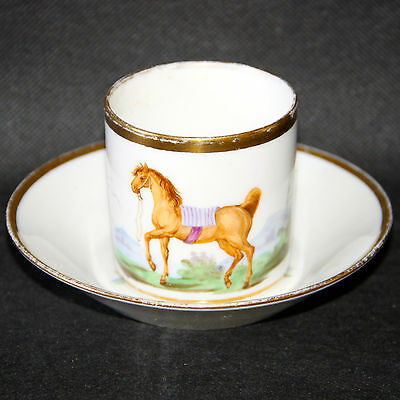 Superbe Paris Empire Porcelain Cup And Saucer Horse-Riding (2)
