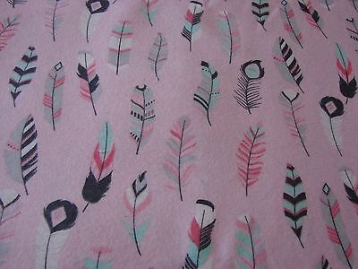 Flannelette Fitted Multi-Coloured Feathers Pink Cot Sheet Handmade