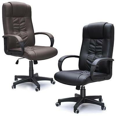 Adjustable Computer Executive Office Chair PU Leather Swivel High Back New UK