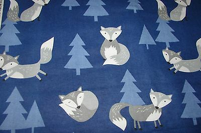Flannelette Fitted Foxes Blue Cot Sheet Handmade