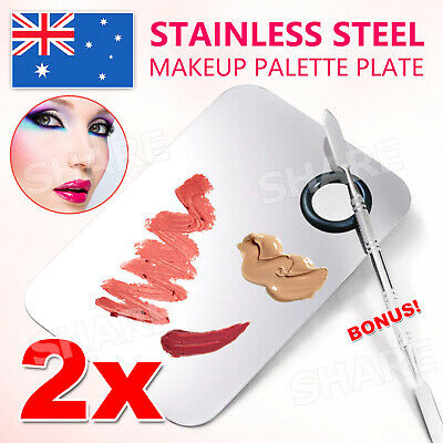 2x Stainless Steel Makeup Cosmetic Palette Plate Beauty Salon Color Cream Mixing