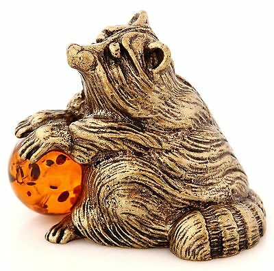 Raccoon Honey Baltic Amber Solid Brass Figurine Animal Miniature Sculpture