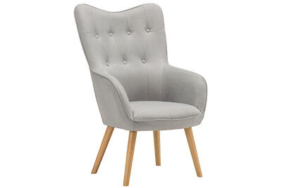 Modern Wing Backed Occasional Accent Chair Armchair Silver Velvet or Grey Fabric