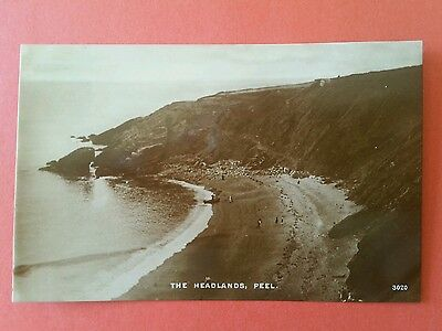 RP early rare view Peel Isle of Man The Headlands + beach real photo IOM Manx