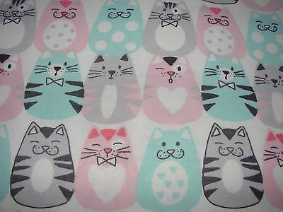 Flannelette Fitted Multi-Coloured Fat Cats White Cot Sheet Handmade