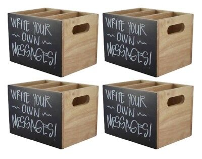 4x Wooden Cutlery Condiment Sauce Holder Caddy With Chalkboard 24cm x 15cm