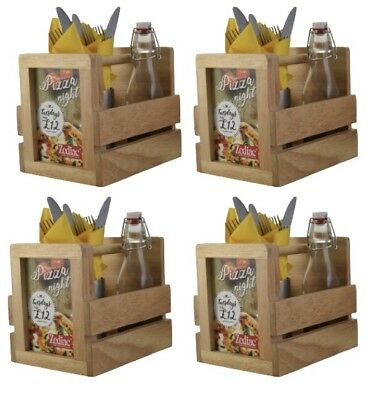 4x Wooden Cutlery Condiment Sauce Holder Caddy With Menu Holder Table Tidy