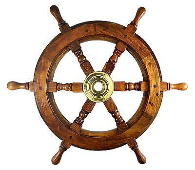 Ship Wheel Ships Steering Boat Pirate Captains Nautical Decor Wooden 18 inch...