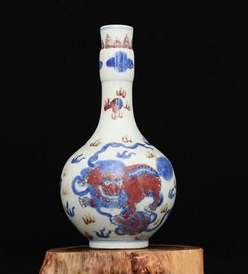 chinese ancient Blue and white youligong porcelain sculpture kirin vase