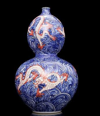 chinese ancient Blue and white youligong porcelain sculpture dragon gourd vases