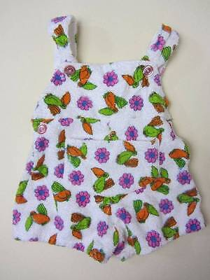 Vintage toddler towelling sun suit tropical floral neon pink green orange 60's H