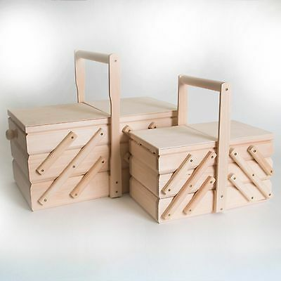 Plain Wooden Cantilever Sewing Box /Unpainted Large & Mid Size Storage Basket