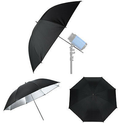 Pro 85cm/33.46 Photo Umbrella Silver Reflective/Black Soft White Diffuser UK