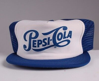 VTG PEPSI Cola 80's 90's Mesh SnapBack Hat Cap Trucker Blue throwback Crush