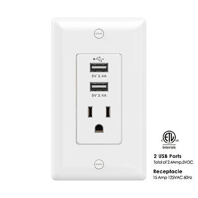 AIAWISS  USB Charger Outlet 15Amp/125V High Speed Receptacle Wall Plates White