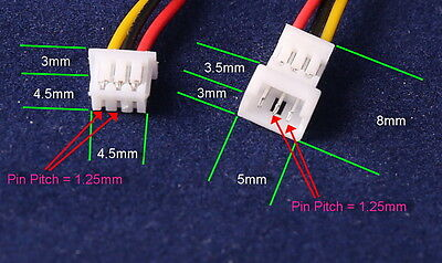 JST 1.25mm PH GH 3-Pin Male & Female Connectors w/Wires UK Stock FreeP&P