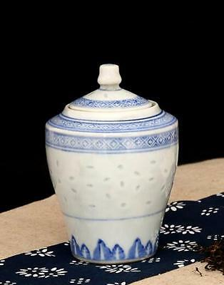 chinese ancient Blue and white porcelain sculpture flower  Cover pot