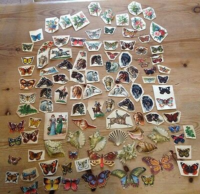 Genuine Victorian Scraps - Butterflies/ Shells/ Horses - Used Die Cuts Obalaten