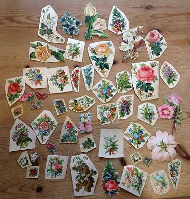 Genuine Victorian Scraps - Flowers - Used Die Cuts Obalaten