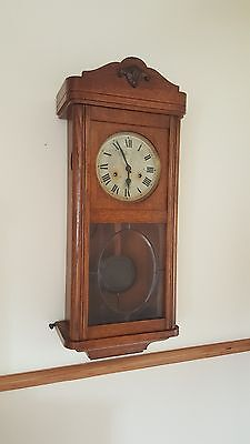 antique wall clock, wooden, pendulum