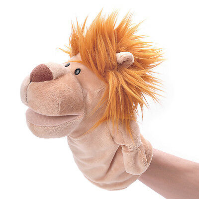 Khaki + Brown Funny Lion Shape Hand Puppet Plush Toy Doll Soft Children Gift