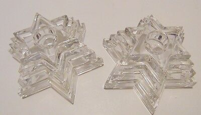 WMF Crystal Star Shape Tiered Candle Holders Set of 2 Approx 2.5 in H x 4.25 in