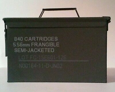 1 .50 caliber/5.56mm 840 cartridge steel ammo box/can military ammunition empty
