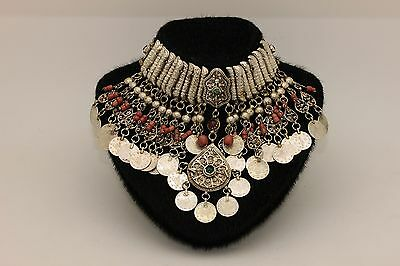 Antique Original Ottoman Silver Coral Decorated Tugra Hallmark Amazing Necklase
