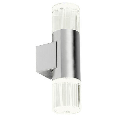 Endon Grant up down outdoor wall light IP44 1W Polished stainless steel